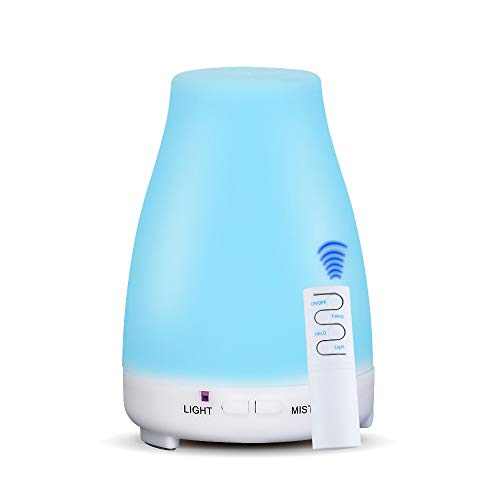 KBAYBO Control Remoto 200ml Aroma Difusor de Aceite Esencial de Aromaterapia Humidificador Luces LED de 7 Colores