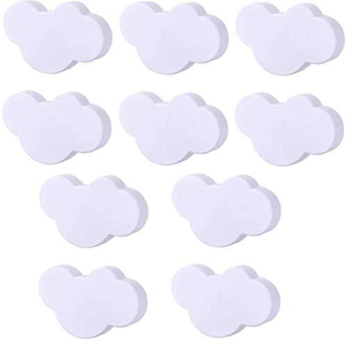 Poignées Enfants Tiroir Meubles Pour Enfants Cartoon Plastique Boutons Nuage Blanc Forme Avec Vis Pour Chambre Salon Cuisine 10pcs