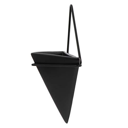 Cabilock - Planta colgante para maceta, diseño geométrico, para decoración de pared, aire o planta, para decoración de oficina en casa, talla S, color negro