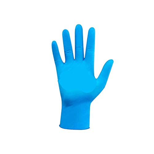 Chaukin 100PC Protective Gloves Disposable Rubber Hand Protection from Water&Virus&Germs Isolation Use Kitchen Medical Exam Mechanic Nitrile Comfortable Sizes Household Travel (L, Blue)
