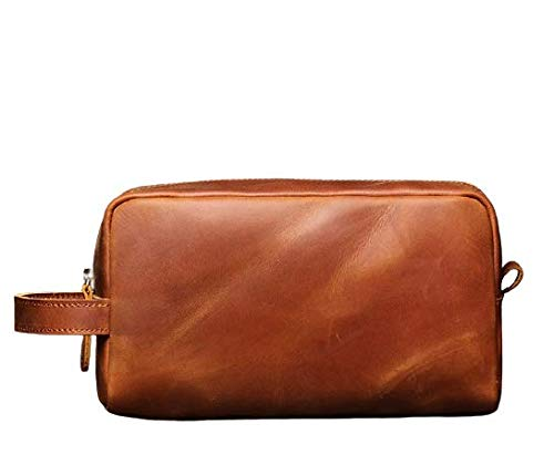 Vintage Crazy Horse Full Grain Leather Toiletry Dopp Kit Bag Travel Make up Cosmetic Bag Big Leather Toiletry Bag for Unisex (Tan Brown)