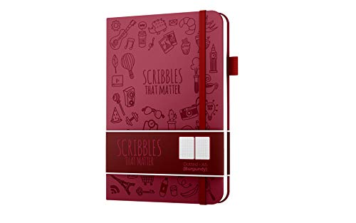 A5 Dotted Journal by Scribbles That Matter - Create Your Perfect Bullet Notebook Journal on Ultra-Thick 160gsm No Bleed Paper - Hardcover Notebook - Iconic Version - Burgundy