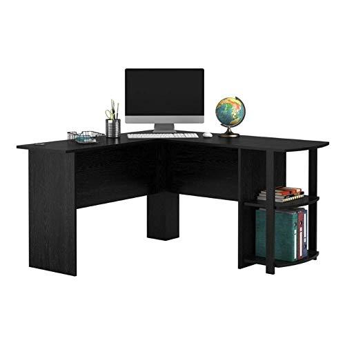 Asbjxny Eck-Computertisch in L-Form, Holz, rechtwinkliger Laptop-Schreibtisch mit zweischichtigen Bücherregalen, Schreibtisch in Schwarz@EIN
