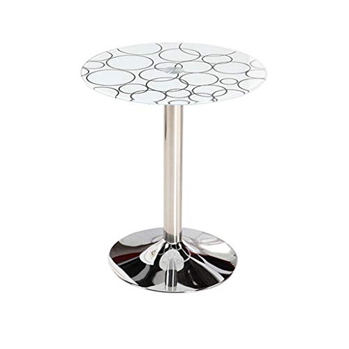 BJYG Mesa auxiliar redonda rústica con base de metal de vidrio templado, mesa auxiliar para patio, jardín, sofá, café, cama, mesita de noche para sala de estar, dormitorio, decoración de mesa,