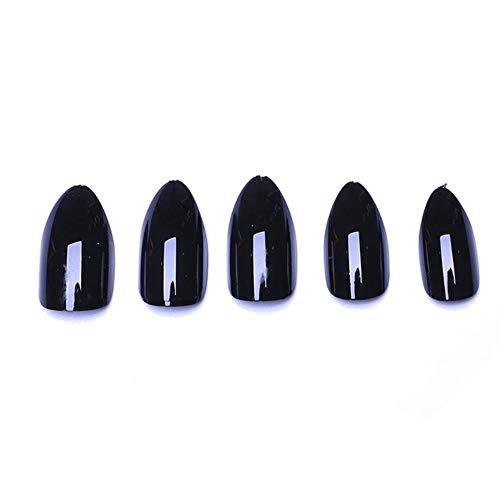LLine 100pc Stiletto Faux Ongles Pointu Sharp Candy Noir Violet Faux Couverture Moyen Nail Art Conseils, 04