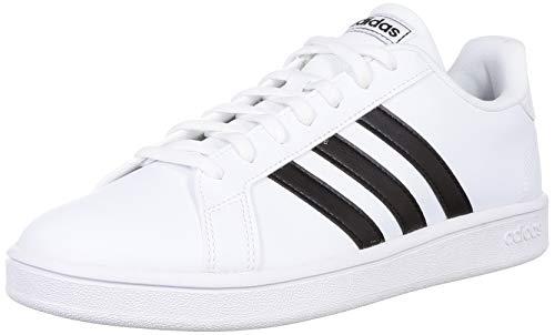 Adidas Tenis Grand Court Base EE7968 para Mujer, Color Blanco/Franjas Negras, Talla 4.5 Mex