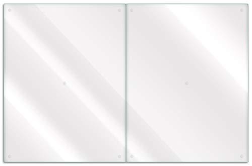 Wallario Herdabdeckplatte/Spritzschutz aus Glas, teilig, 80x52cm, für Ceran- und Induktionsherde, transparent - durchsichtig