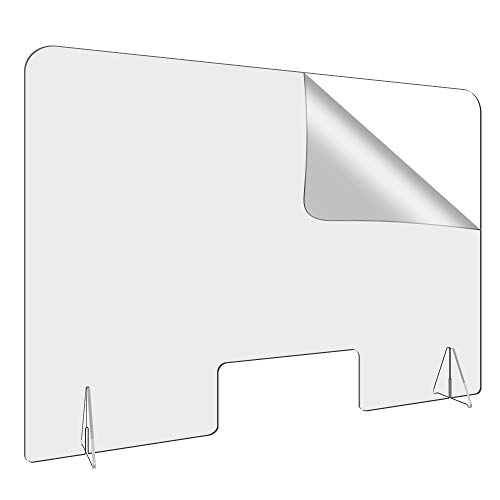 44'W-32'H Plexiglass Barrier Sneeze Guard Shield for Counter and Desk,Clear Acrylic Shield with 6' Tall Opening for Office School Protect Employee Customers from Sneeze