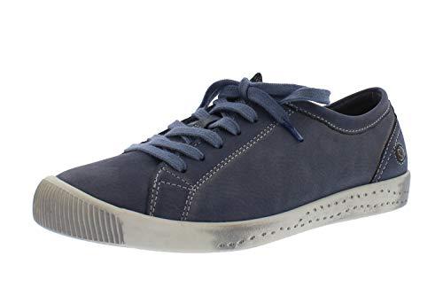 Softinos Damen Sneakers ISLA, Frauen Low Top Sneaker,lose Einlage, schnürschuh sportschuh Halbschuh strassenschuh schnürer,Blau(Navy),39 EU / 6 UK