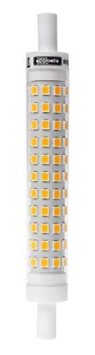 ECOBELLE® 1 x Bombilla LED R7S de Cerámica (para mejor refrigeración) 9W 950 Lúmenes, Color Blanco Cálido 3000K, 118 mm x 14 mm (Bombilla Super Slim), 360 grados