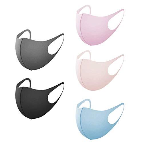 Starne 5 piezas cara bandana para niños tela de color sólido lavable reutilizable durable transpirable a prueba de polvo...