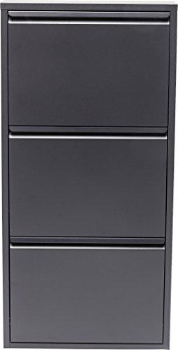 KARE DESIGN- Casier à chaussures Caruso anthracite 3 Tiroirs - 103 cm x 50 cm x 14 cm