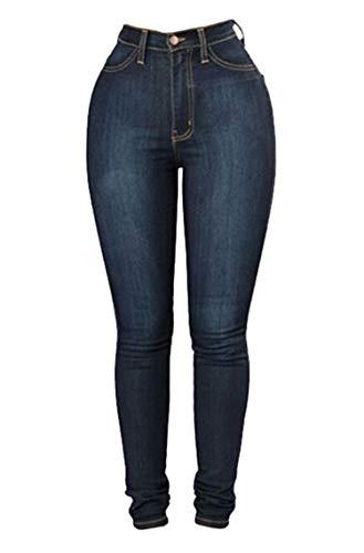 Andongnywell Womens Mid Waist Stretchy Denim Skinnys High Rise Skinny Jeans Butt Lifting Stretch Denim Pants Slim Trouser (Navy Blue,Large)