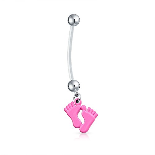 Bling Jewelry Bioflex Pink Enamel Baby Feet Pregnant Belly Ring 316L Steel