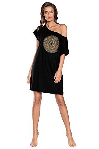 Camisón de noche para mujer, de viscosa, de manga corta, cuello redondo, informal, camisón de dormir, pijama sexy de mandala Negro XL