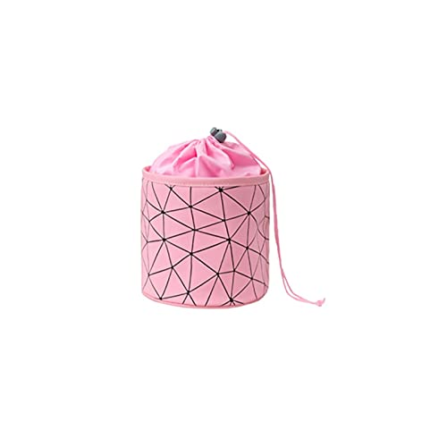 ZYstyle Sac cosmétique Simple Sac cosmétique Cylindre Sac cosmétique Sac de Rangement Portable étanche Sac de Lavage géométrique PU (Color : Pink)
