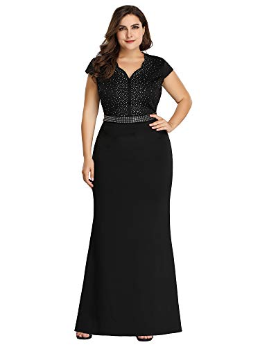 Women's Plus Size Cap Sleeve Beads Patchwork Mermaid Dress Black US16