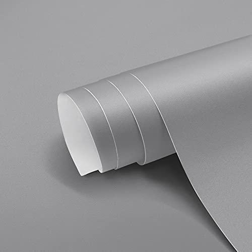 Papel Pintado Adhesivo Gris Vinilos para Muebles Antifouling y Resistete a Humedad y Mancha de Grasa, Papel Adhesivo para Pared 40 x 300 cm