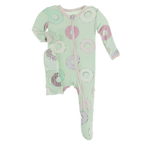 KicKee Pants Print Footie with Zipper, Fitting Long Sleeve Pajama Baby Bodysuit, Ultra Soft Everyday One Piece Loungewear, Baby Clothes for Boys and Girls (Pistachio Donuts - 9-12 Months)