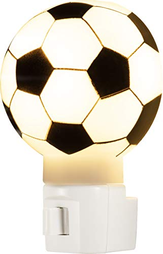 GE 52057 Manual On/Off Soccer Ball Night Light, Incandescent, Plug-In, Warm White, Black and White Shade, Kids Sports, Ideal for Children's Bedroom, Bathroom, Hallway, Stairs, Game Room and Play Room