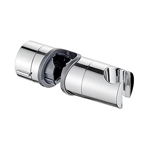 Ibergrif M20404 M20404-Supporto Soffione Doccia per Barra per Saliscendi, Regolabile Ricambio Porta per Doccetta, 18-25 mm, ABS, Cromo, Argento
