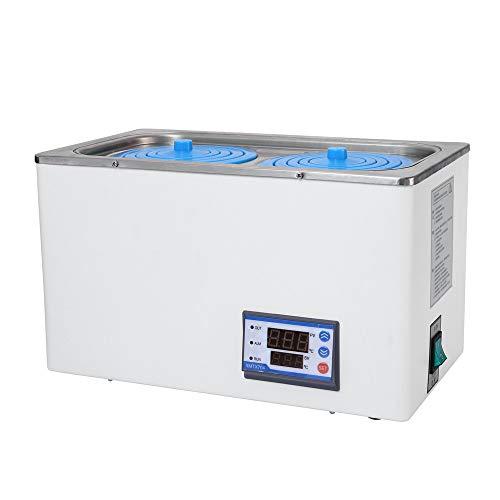 TOPQSC Digitales Thermostat-Wasserbad Laborwasserbad,Präzisions-Temperaturregelung Wasserbad Laborthermostat-Wasserbad mit Zeitfunktion RT bis 100 ℃ (Zweikammer, 220 V)