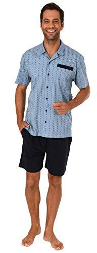 NORMANN-Wäschefabrik Eleganter Herren Shorty Pyjama Kurzarm zum durchknöpfen - auch in Übergrössen bis Gr. 70-191 105 90 512, Größe2:56, Farbe:hellblau