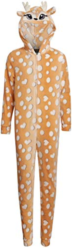 Sweet & Sassy Girls' Plush Fleece Zip Up Onesie Pajamas with 3D Character Hood, Reindeer, Size 4'
