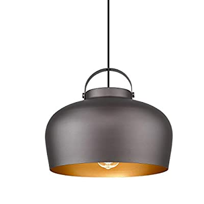 Farmhouse 1-Light Barn Pendant Light - HWH Industrial Hanging Light 14-Inch, Rustic Vintage Dome Shape for Kitchen Island, Dining Room, Living Room, Oil-Rubbed Bronze Finish, 5HZG14-H ORB