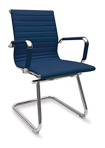 Sedia Ergonomica da Ufficio Attesa o Visitatori Modello Rem Slitta Colore Blu