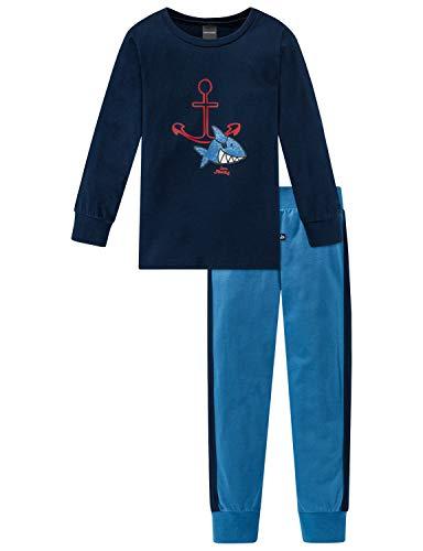 Schiesser Jungen Capt´n Sharky Kn Anzug lang Zweiteiliger Schlafanzug, Blau (Dunkelblau 803), (Herstellergröße: 104)