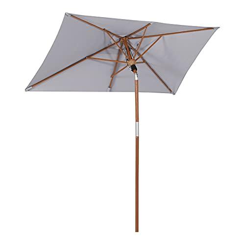 Sekey® Sonneschirm 210 x 140cm Holzmaserung-Sonnenschirm Marktschirm Gartenschirm Terrassenschirm Rechteckig UV50+