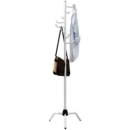 Perchero Perchero de metal de pie Perchero para sombrero 8 Ganchos para chaqueta Monedero Bufanda Perchero Paraguas Soporte de árbol para bolso Accesorios de ropa (Color: Blanco, Tamaño: 50 Times; 17