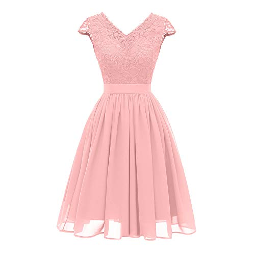 MIRRAY Damen Vintage Prinzessin Blumenspitze Cocktail V Ausschnitt Party Aline Swing Kleid