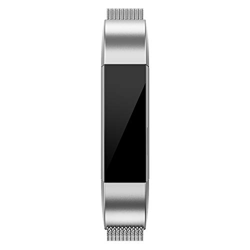 QusFy Metal Bands Compatible with Fitbit Alta/Alta HR/Ace, Stainless Steel Metal Replacement Accessories Wristband Small Large for Women Men, Silver, Black, Rose Gold, Colorful, Champagne