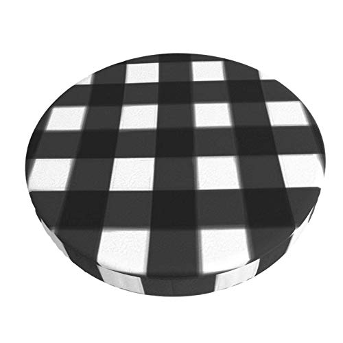 Anti-Slip Round Chairs Cover Stool Covers,Bed Wide Gingham Midnight Black,Stretch Chair Seat Bar Stool Cover Seat Cushion Slipcovers Chair Cushion Cover Round Lift Chair Stool