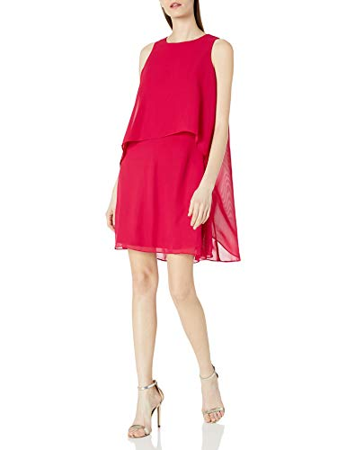 T I A N A B. Damen Chiffon Shift Dress Cocktailkleid, Fuchsia, 38
