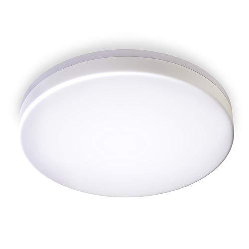 B.K.Licht I LED Deckenleuchte I spritzwassergeschützt IP54 I 18W LED Platine mit 2400lm I 4.000K neutralweisse Lichtfarbe I Ø28cm I Badezimmerlampe I Deckenlampe I Badleuchte