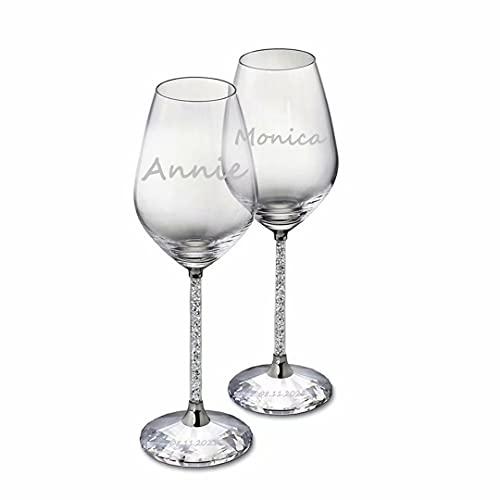 iYoukesA Copa de Vino Personalizada, Diamantes Grabados con Nombre y Texto Personalizados Copas de Vino Taza Compromiso Regalo de Boda Flautas de champán cumpleaños, Bodas