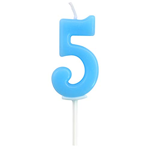 Birthday Candle Numbers, Dollet Cute Blue Birthday Cake Candle Number 5