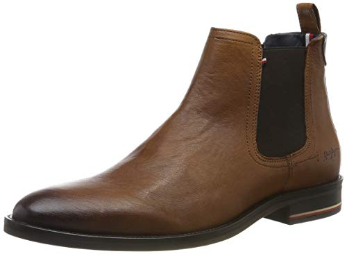 Tommy Hilfiger Herren Signature Hilfiger Leather CHELS Klassische Stiefel, Braun (Cognac 606), 45 EU