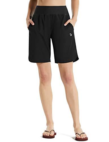 BALEAF Women Long Swim Board Shorts 8 Inch High Waisted Trunks Quick Dry Lightweight Boardshorts Pockets Modest Black XL