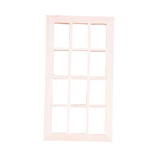 Yiifunglong Marco de madera para ventana de 12 cuadrículas, decoración para casa de muñecas de 1/12