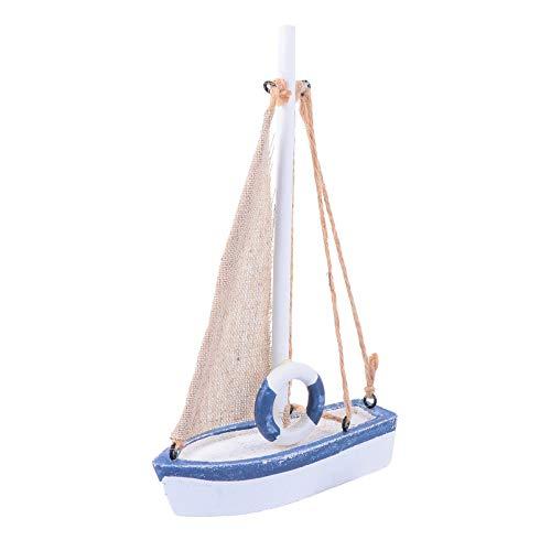 FAVOMOTO Barco de Vela en Miniatura de Madera Mini Modelo de Velero Decoración Playa Diseño Náutico para Adorno del Hogar (Azul 3)