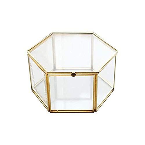 Monbedos zeshoekige juwelendoos van glas, draagbaar sieradendoosje voor oorbellen, geschikt voor het opbergen van damessieraden en kleine voorwerpen