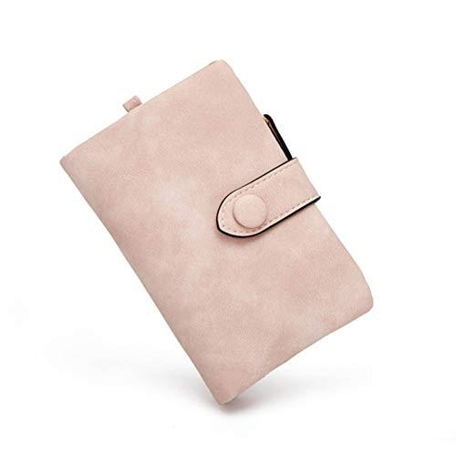 N-B 2 unids Tri-fold corto mujeres carteras con monedero cremallera bolsillo minimalista esmerilado suave cuero señoras monederos femenino rosa pequeña cartera