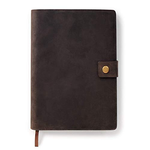 Full Grain Premium Leather Refillable Journal Cover with A5 Lined Notebook, Pen Loop, Card Slots, Brass Snap by Case Elegance