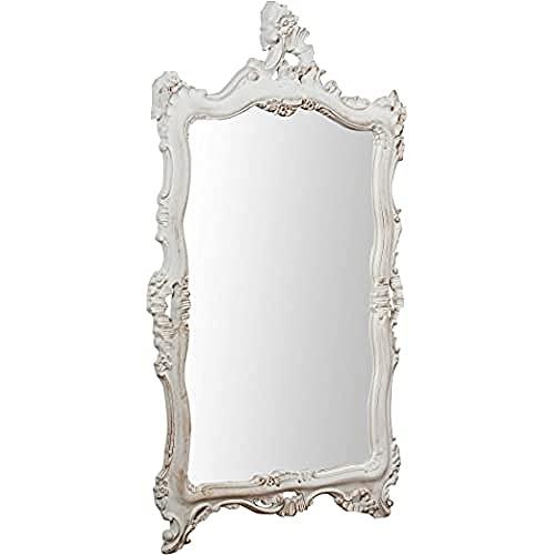 Biscottini Specchio Specchiera da parete stile Shabby in legno con finitura bianca Anticata misure L66xPR7xH118 cm produzione Artigianato Fiorentino Made in Italy
