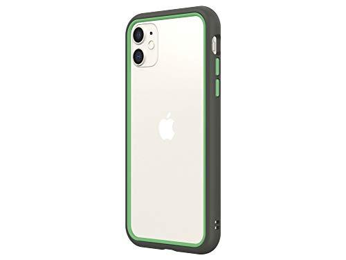 RhinoShield Funda Bumper Compatible con iPhone 11 | CrashGuard NX - Super Resistente y Personalizable - Grafito/Verde Helecho