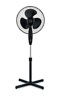 "Knight 16"" Fan Pedestal Stand High Performance 140cm Adjustable Height, 3 Speed Setting, Extra Wide Cross Base, Oscillating, Tilting Head (Black)"
